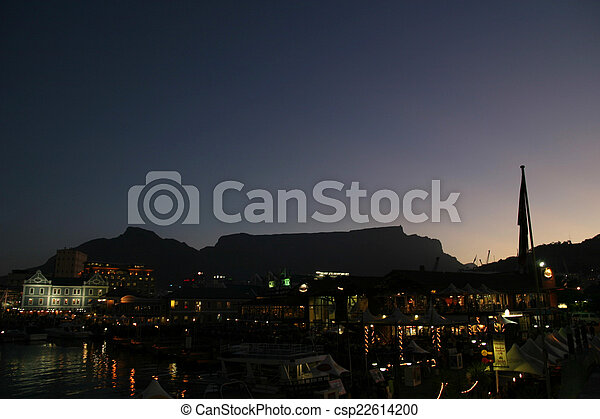 Table mountain in Cape town (night view) - csp22614200