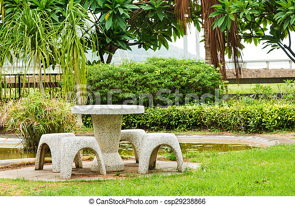 table, pierre, ensemble, jardin, aménagé
