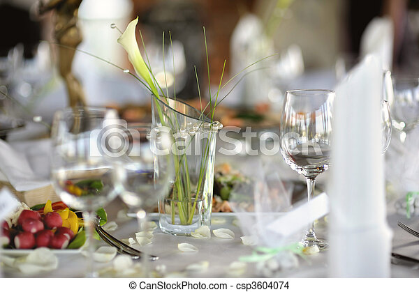 Table set for a festive party or dinner - csp3604074