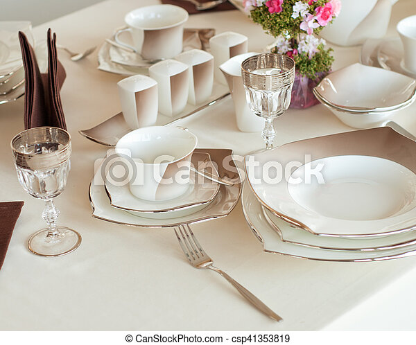Table set for a wedding dinner - csp41353819