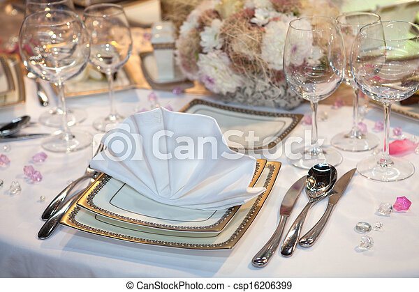 Table set for a wedding dinner - csp16206399