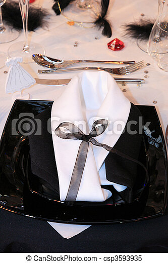 Table set for a wedding - csp3593935