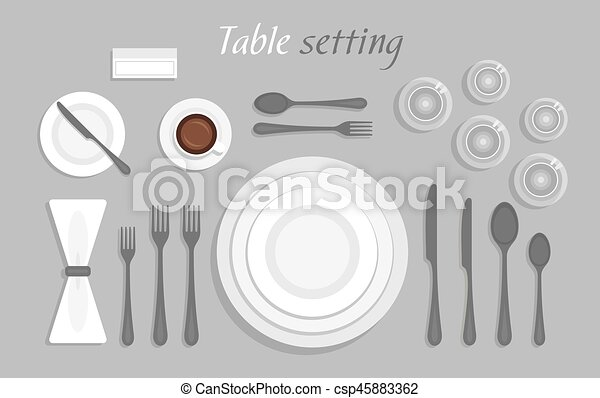 Formal table setting. the plan for the cutlery on the table.... clip ...