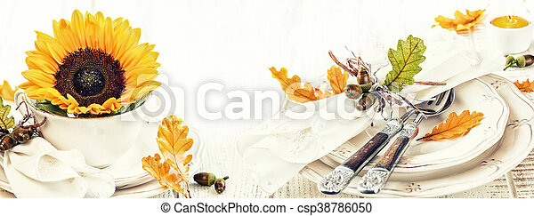 table setting decoration for autumn holiday - csp38786050
