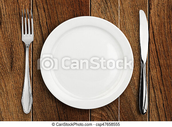 Table setting empty plate and silverware on wooden table top view - csp47658555 & Table setting empty plate and silverware on wooden table... stock ...