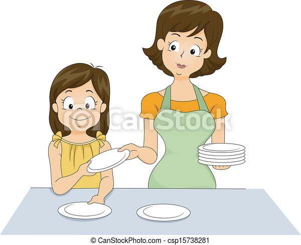 Table setting. Illustration of a little girl helping her ...