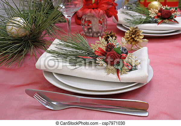 Table setting for Christmas and New Year - csp7971030