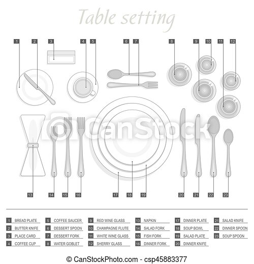 Table setting - csp45883377  sc 1 st  Can Stock Photo & Table setting. Formal table setting. the plan for the cutlery on the ...