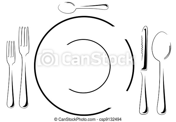 Table setting in line art - csp9132494  sc 1 st  Can Stock Photo & Table setting in line art. Illustration of a fancy table... eps ...