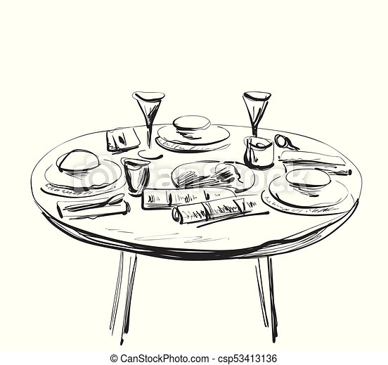 Table setting set. Weekend breakfast or dinner. - csp53413136  sc 1 st  Can Stock Photo & Table setting set. weekend breakfast or dinner. vectors - Search ...