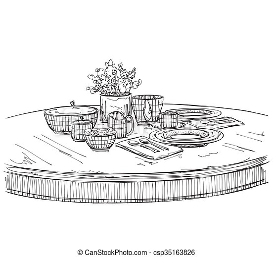 Table setting set. Weekend breakfast or dinner. - csp35163826  sc 1 st  Can Stock Photo & Table setting set. weekend breakfast or dinner. hand drawn dishes ...