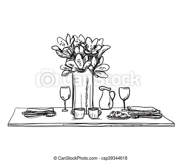 Table setting set. Weekend breakfast or dinner. - csp39344618  sc 1 st  Can Stock Photo & Table setting set. weekend breakfast or dinner. hand drawn dishes ...