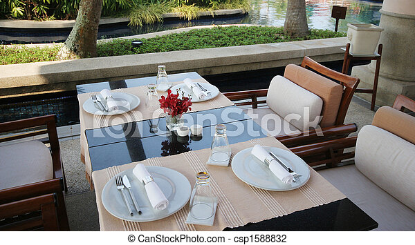 Elegant table setting for two - fine dining. stock photo - Search Pictures and Photo Clip Art - csp1588832 & Elegant table setting for two - fine dining. stock photo - Search ...