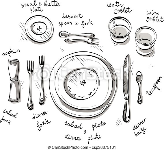 Table Setting Vector Sketch