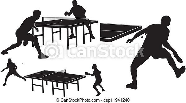 table, silhouettes, tennis, - - csp11941240