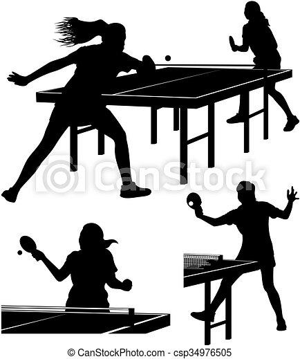 table, silhouettes, tennis - csp34976505