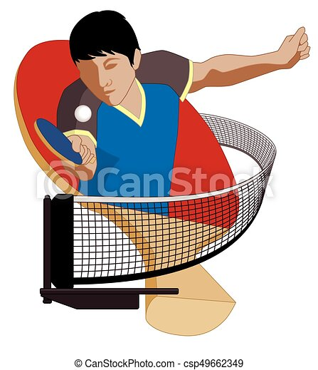 table tennis player male hitting ball - csp49662349