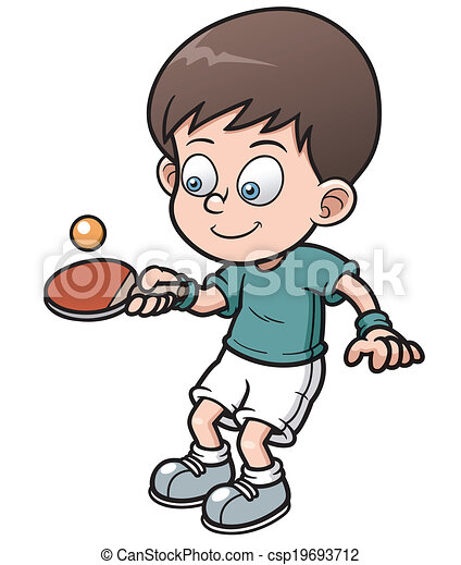 Table tennis player. Vector illustration of cartoon table ...