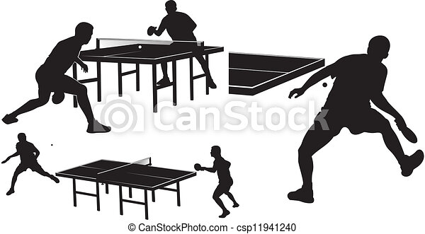 table tennis - silhouettes - csp11941240