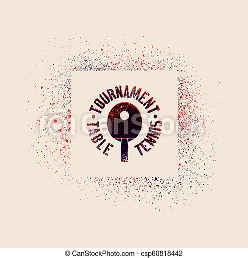 Table Tennis tournament typographical vintage grunge style poster. Retro vector illustration. - csp60818442