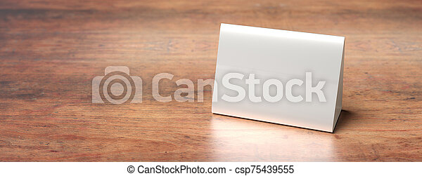 Table Tent Reserved Card Sign Empty Blank On A Wooden Table 3d Illustration Reservation Concept Table Tent Blank Canstock
