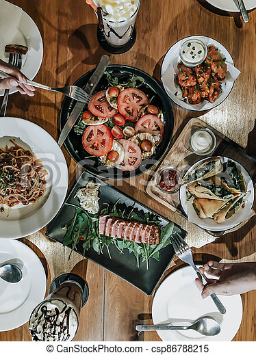 table with food, top view, - csp86788215