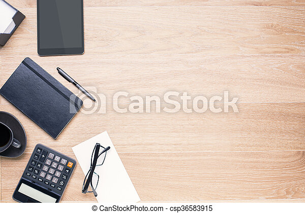 Table with items on side - csp36583915