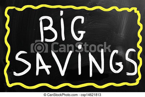 """tableau noir, """"big, craie, savings"""", blanc, manuscrit - csp14621813"""