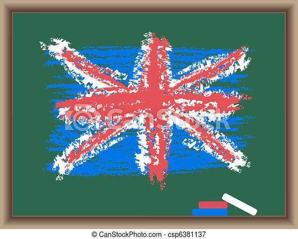 tableau noir, drapeau, angleterre - csp6381137