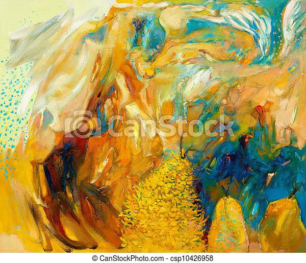 tableauabstrait, huile - csp10426958