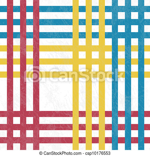 Tablecloth, Red And Blue, Yellow Lines   Vector Illustration. Retro Tablecloth  Texture