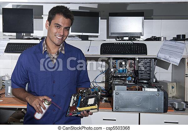 tablero sistema, técnico, taller, computadora - csp5503368