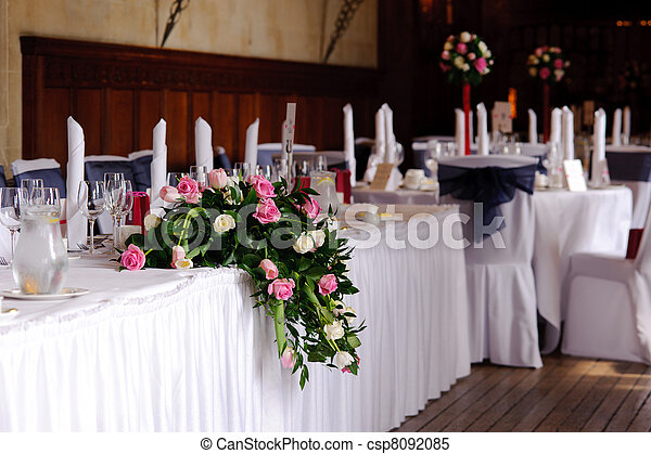 Tables at a wedding reception - csp8092085