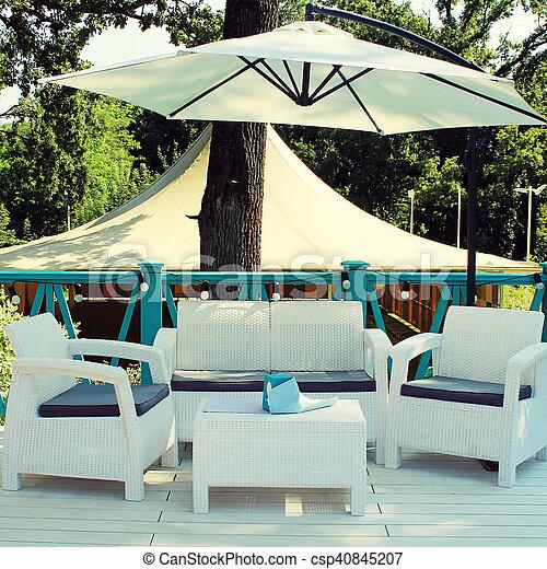 Tables, jardin, été, osier, fresque, al, rotin, terrasse, fauteuils ...