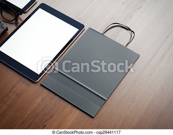 Tablet and paperbag on the wooden background. 3d render - csp29441117