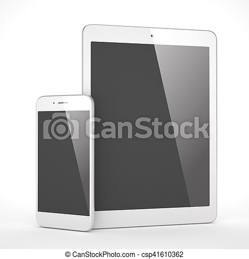 Tablet and smartphone on a white. 3d rendering. - csp41610362