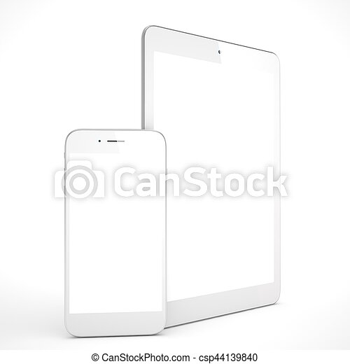 Tablet and smartphone on a white. 3d rendering. - csp44139840