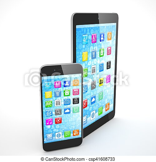 Tablet and smartphone on a white. 3d rendering. - csp41608733