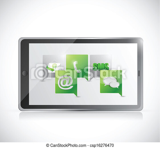 tablet communication. contact us illustration - csp16276470