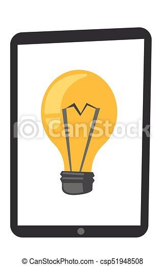 Tablet computer with lightbulb vector cartoon. - csp51948508