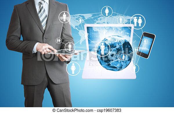 tablet., elektronik, mann, besitz, erde - csp19607383