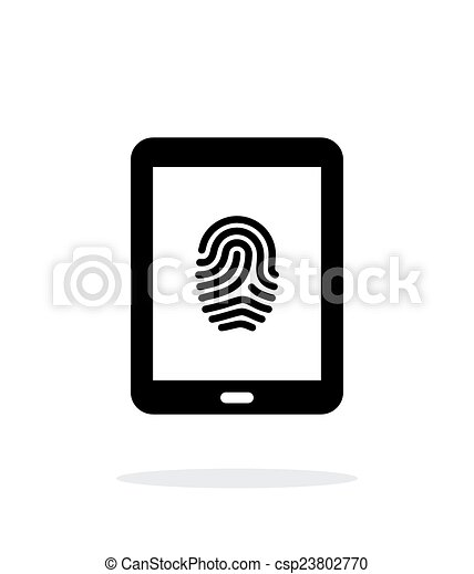 Tablet fingerprint icon on white background. - csp23802770