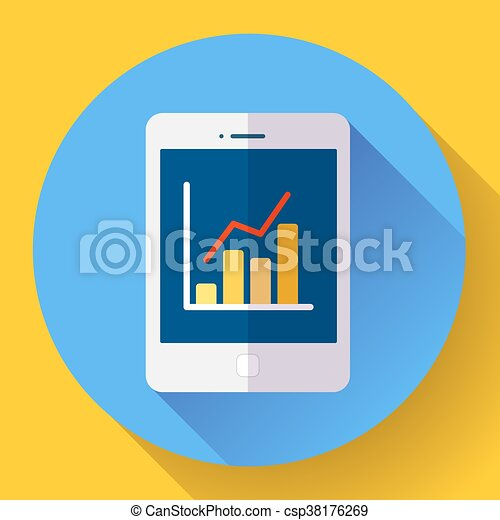 Tablet Flat 20 Icon In Ipad Style With Stat Diagram Tablet Flat