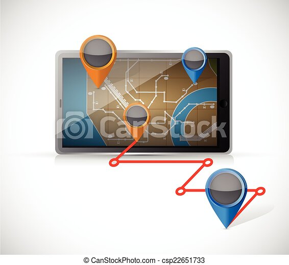 tablet gps and locations illustration - csp22651733