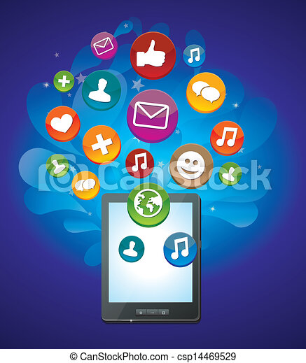 tablet, iconen, media, pc, helder, sociaal - csp14469529