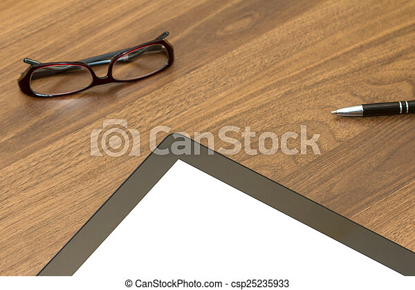 Tablet on Office Table - csp25235933