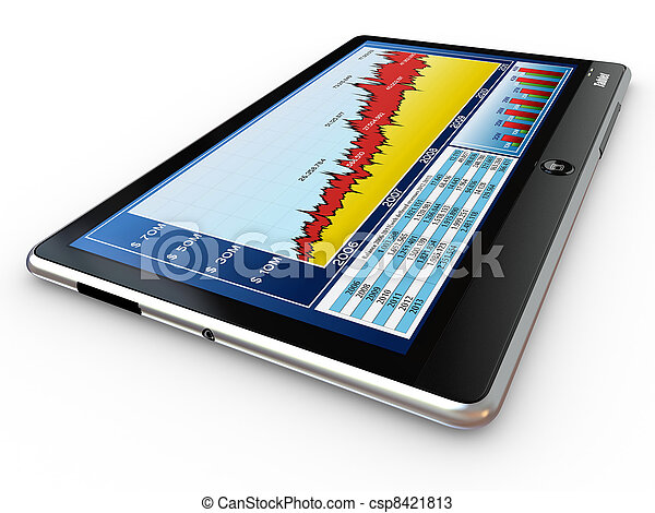 Tablet pc and business graph on the screen - csp8421813
