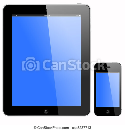 tablet pc and smartphone with blue screen vector format vectors rh canstockphoto com smartphone user clipart smartphone user clipart