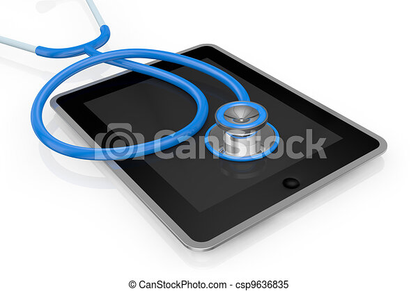 tablet pc and stethoscope - csp9636835