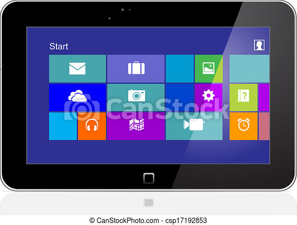 Tablet Pc With Icon On Screen Eps 10